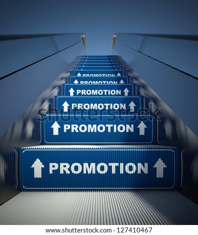 Moving escalator stairs to promotion, conception - stock photo