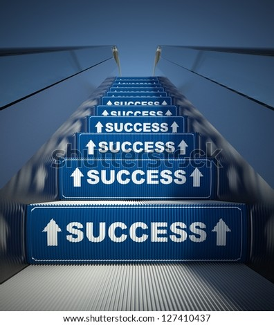 Moving escalator stairs to success, conception - stock photo