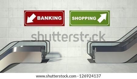 Moving escalators stairs, shopping banking sign - stock photo