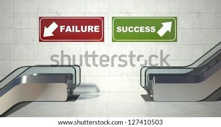Moving escalators stairs, success failure sign - stock photo