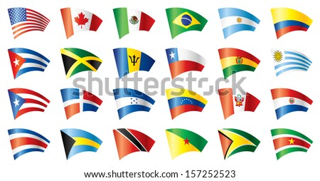 Moving flags set - America. 24 Vector flags.  - stock photo