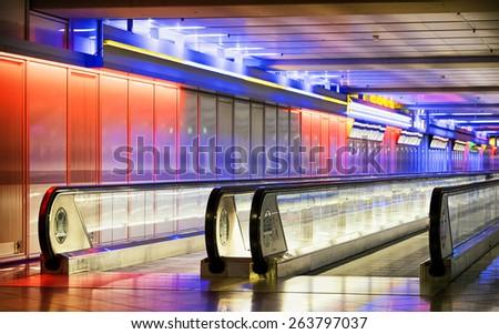 moving floor at a modern corridor - stock photo