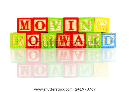 moving forward word reflection in white background - stock photo