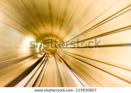 moving high speed in the tunnel - stock photo