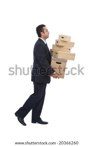 moving house concept with businessman carrying cardboards on white - stock photo