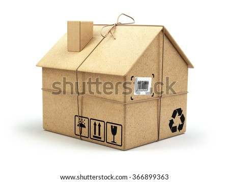 Moving house. Real estate market. Delivery concept. Cardboard box as home isolated on white. 3d - stock photo