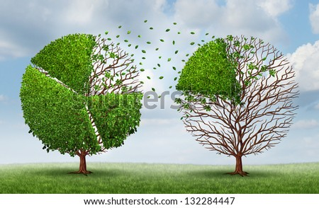 Moving market share with a group of trees shaped as pie chart financial graphs as a finance concept of transferring funds and equity from a company or industry to another on a summer sky background. - stock photo