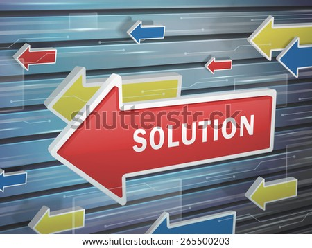 moving red arrow of solution word on abstract high-tech background - stock photo