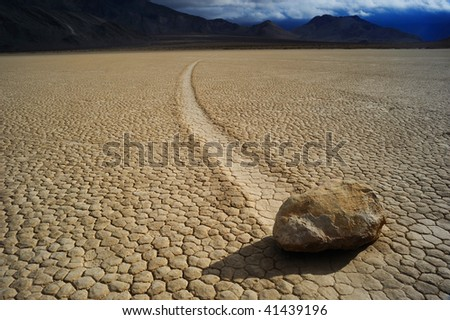 Moving stone in the desert of Death Valley national park, California, - stock photo