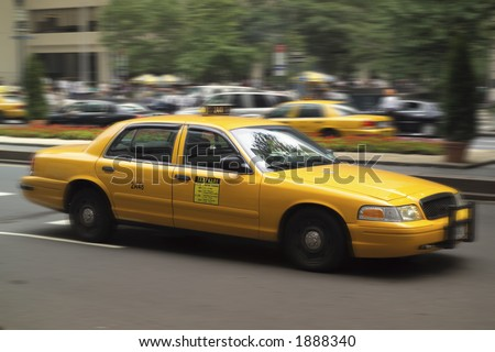Moving Taxi Cab - stock photo