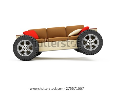 Moving to a New Residence or Furniture Transportation Concept. Modern Sofa on Wheels with Pillows isolated on white background - stock photo