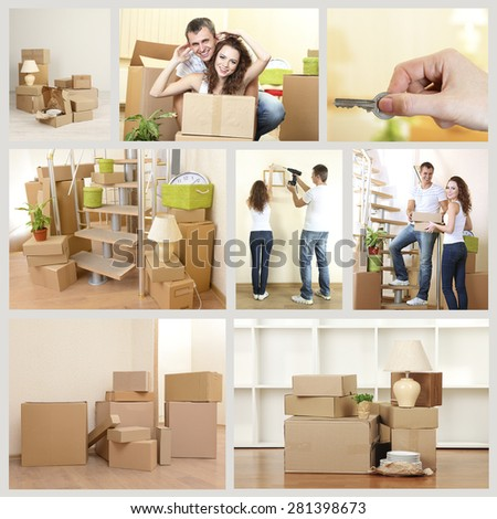 Moving to new house themed collage - stock photo
