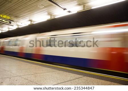 Moving train, motion blurred, London Underground  - stock photo