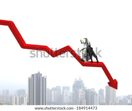 Moving up money symbol on going down arrow city view background - stock photo