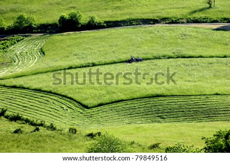 Mowing hay, field and mountain, Barbour County, West Virginia, USA - stock photo