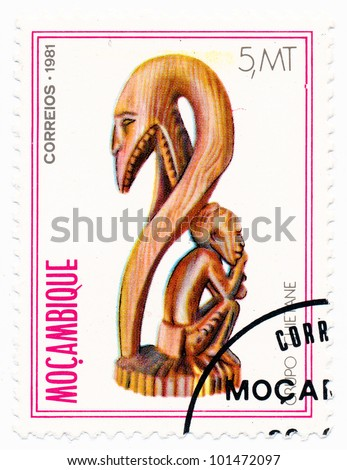 MOZAMBIQUE - CIRCA 1981: A stamp printed in Mozambique, shows a Wooden sculpture Chietane, series, circa 1981 - stock photo