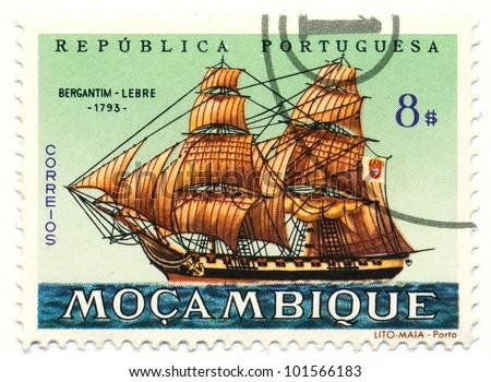 MOZAMBIQUE - CIRCA 1963: A stamp printed in Mozambique, shows Brigantine Lebre, 1793, series, circa 1963 - stock photo