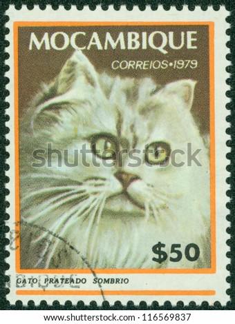 MOZAMBIQUE - CIRCA 1979: A stamp printed in Mozambique, shows Cat, circa 1979 - stock photo