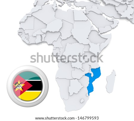 Mozambique with national flag - stock photo