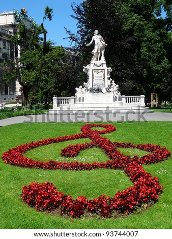 Mozart monument The Mozart monument in the castle garden in Vienna. - stock photo