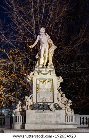 Mozart statue in Vienna, Austria - stock photo