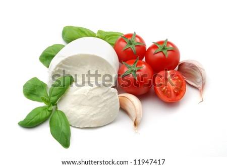 Mozzarella, basil and garlic - stock photo