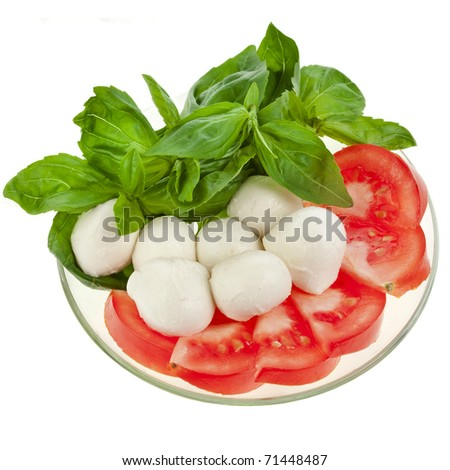 Mozzarella, basil , tomato isolated on white background - stock photo