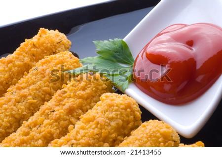 Mozzarella fried with tomato sauce - stock photo
