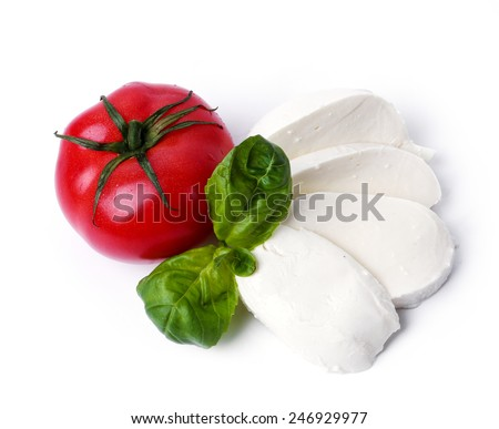 Mozzarella on a white background - stock photo