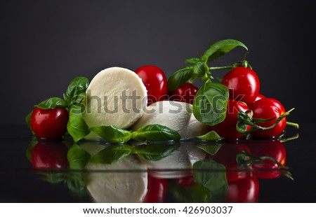 mozzarella with basil and tomatoes on black table - stock photo
