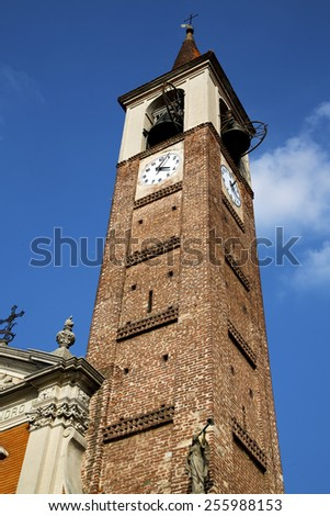 mozzate   old abstract in  italy   the   wall  and church tower bell sunny day  - stock photo
