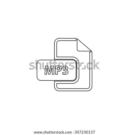 MP3 audio file extension. Outline black simple symbol - stock photo