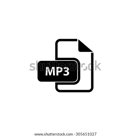 MP3 audio file extension. Simple black flat pictogram on white background - stock photo