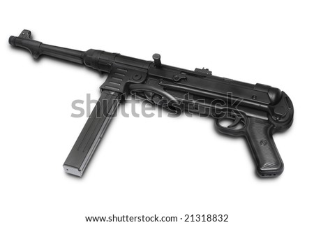 MP40 German submachine gun. Usually used by Wehrmacht squad leader or submachine gun company supporting tank attacks - World War II period - stock photo