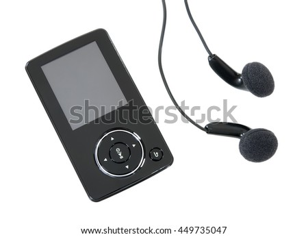 MP3 player and earphones isolated on white background. - stock photo