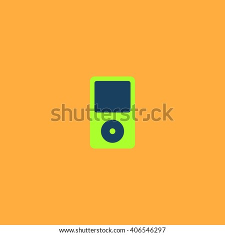 mp3 player Flat icon on color background. Simple colorful pictogram - stock photo