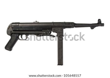 MP40 sub machine gun on white background - stock photo