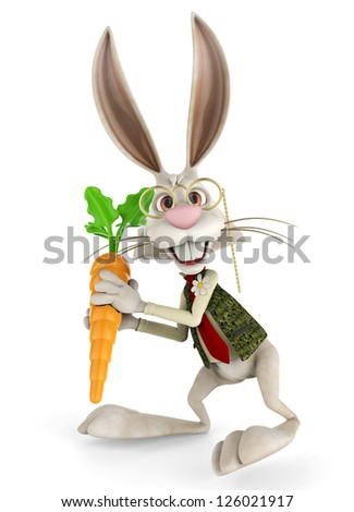 mr bunny and his carrot - stock photo