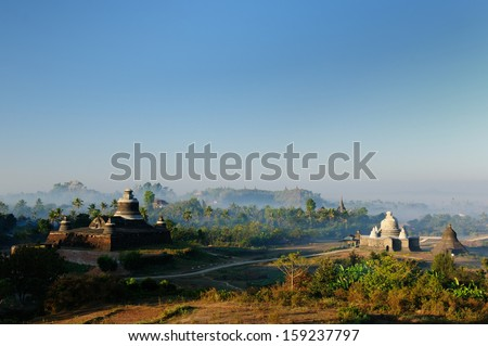 Mrauk U temples. Dukkanthein Paya - built by King Minphalaung in 1571 in particulary troubled times, Dukkanthein's interior features spiralling cloisters lined with images of Buddha, Myanmar (Burma) - stock photo