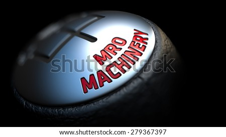 MRO Machinery. Control Concept. Gear Lever on Black Background. Close Up View. Selective Focus. 3D Render. - stock photo