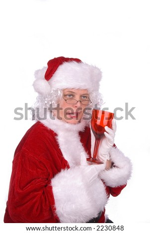 Mrs. Claus had to much to drink - stock photo