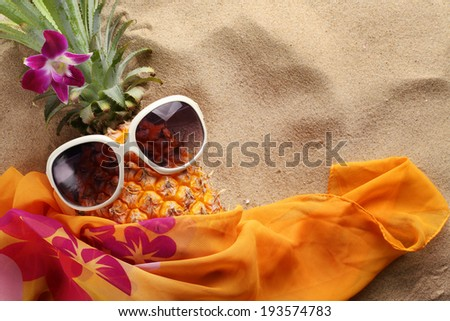 Ms pineapple lies on sand beach - stock photo