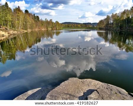 Mseno - city water reservoir in Jablonec nad Nisou, Czech Republic - stock photo