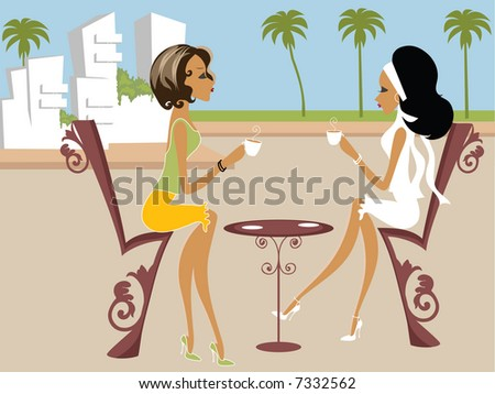 Mss Boo having tea with a friend - stock photo