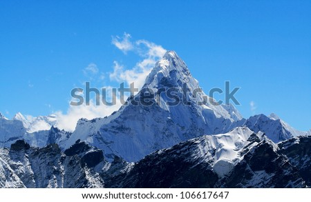 Mt. Ama Dablam in the Everest Region of the Himalayas, Nepal. - stock photo