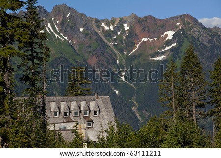Mt. Baker Lodge Evergreens Red Snow Mountains Vista Point Mount Baker Highway Washington State Pacific Northwest - stock photo