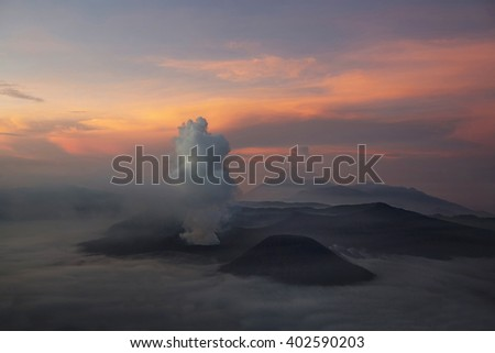 Mt. Bromo volcano during sunrise, the magnificent view of Mt. Bromo located in Bromo Tengger Semeru National Park, East Java, Indonesia. - stock photo