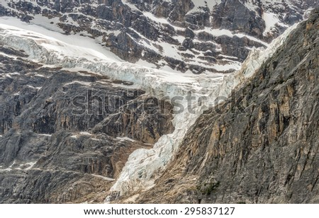 Mt. Edith Cavell and Angel Glacier in Jasper National Park, Alberta, Canada - stock photo