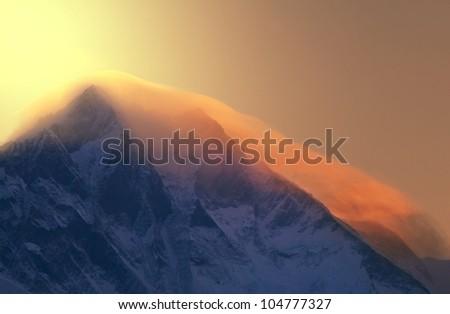mt. Everest at sunrise - stock photo