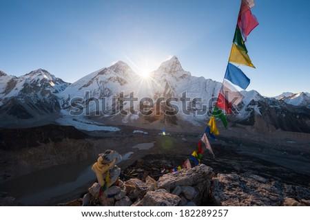Mt.Everest at sunrise from Kala Patthar summit, Nepal - stock photo